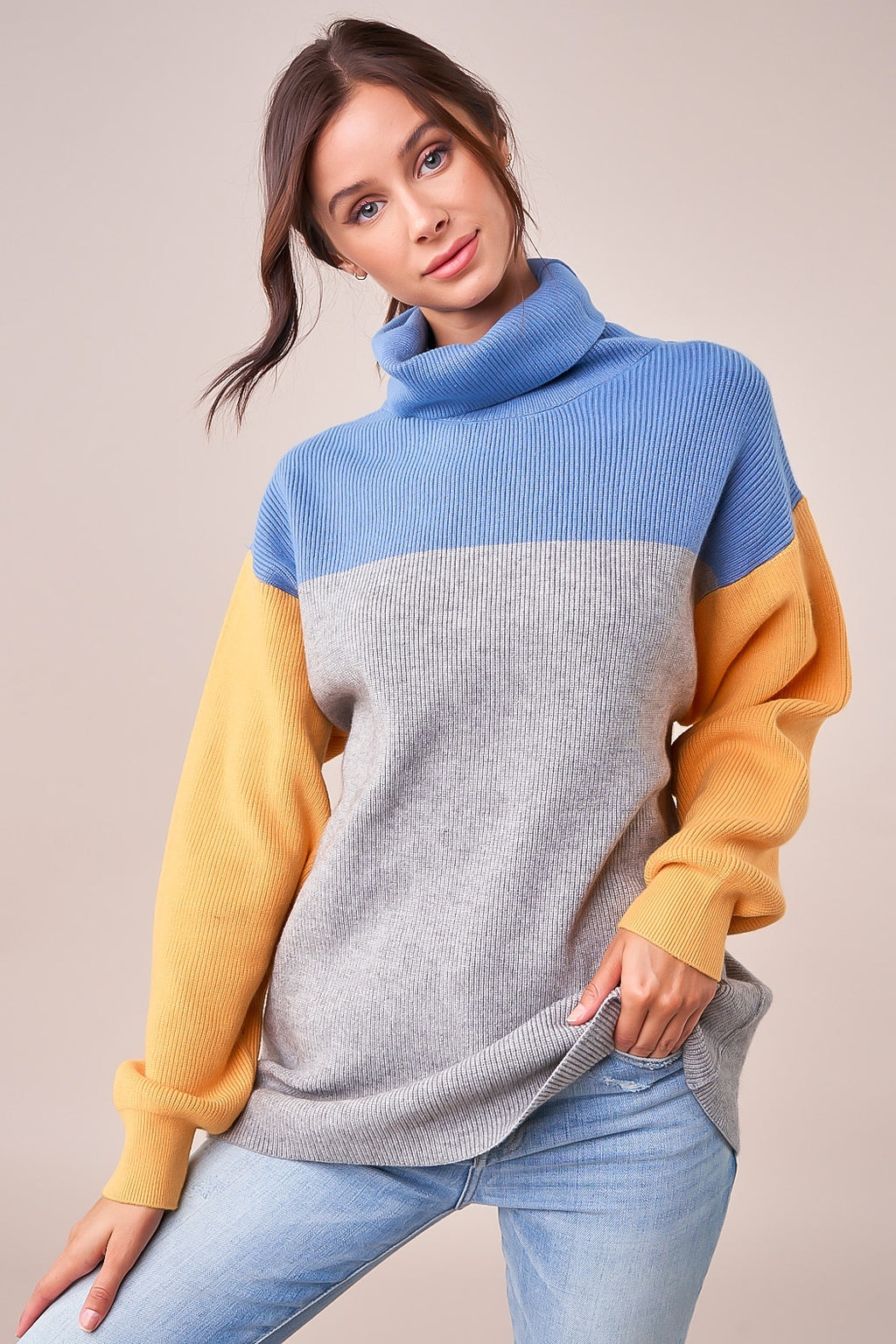 Sidnie Color Block Mock Neck Sweater
