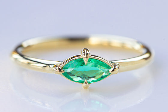 East/West Petite Emerald Ring