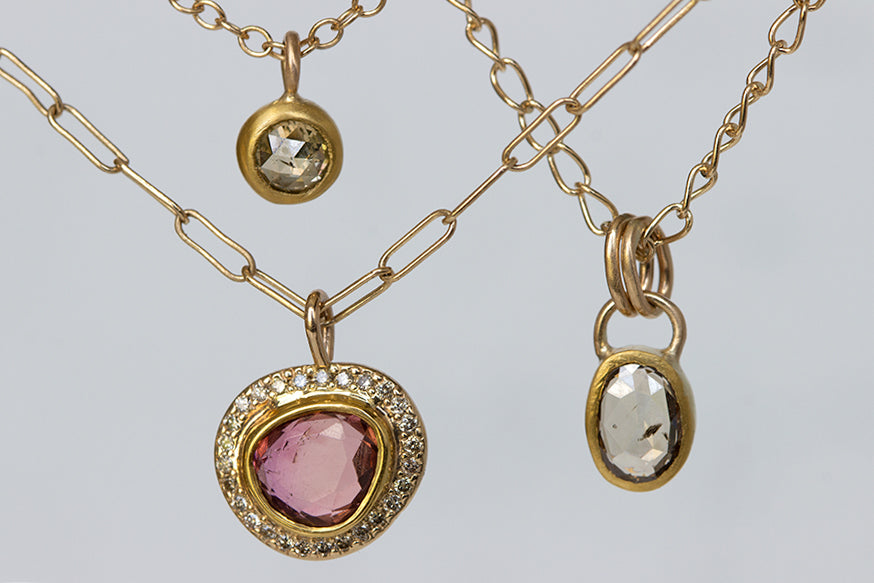 Pink Tourmaline Pendant with Diamond Halo