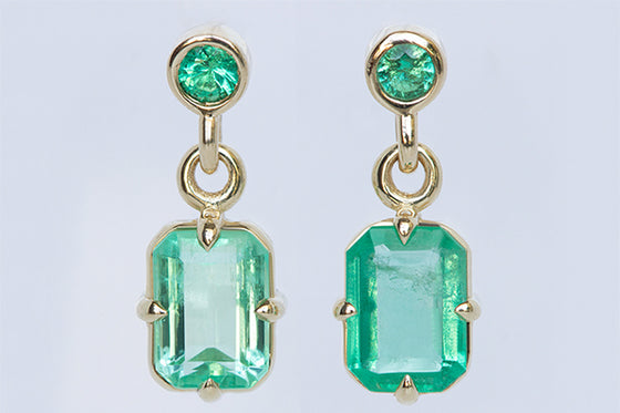 Mis-matched Colombian Emerald Stud Drops