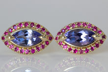 Tanzanite and Ruby Studs