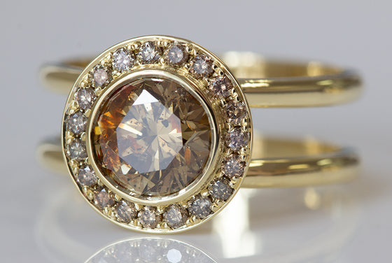 Multicolored Champagne Diamond Ring