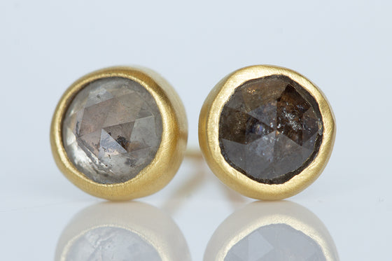 Grey & Brown Diamond Studs