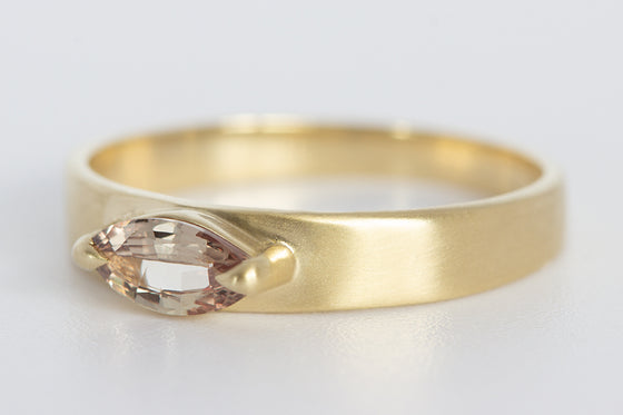 Peachy Pink Marquise Sapphire Ring