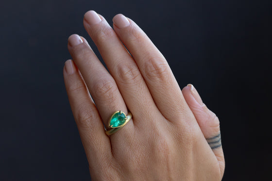 Offset Colombian Emerald Ring