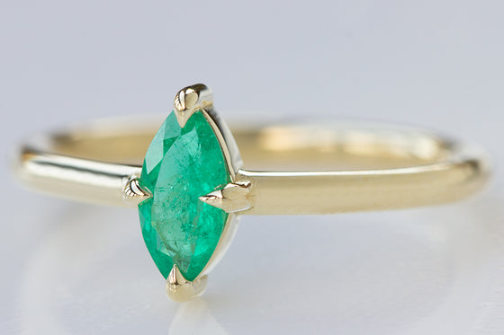 North/South Marquise Emerald Ring