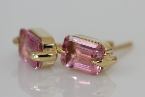 Pink Tourmaline Eagle Claw Studs