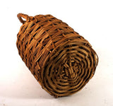 WICKER WINE Demijohn BOTTLE 1860′s Blown Glass Jug w/ Handle Antique!