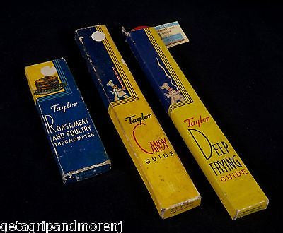 TAYLOR LOT 3 Thermometer Guides Deep Frying Candy & Meat Guides 1950's Vintage!