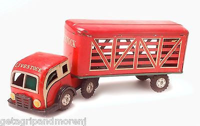 1950s - 1960s LiveStock Tin Trailer Truck Japan Vintage Antique RARE!