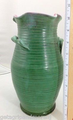 "1920's Weller Fleron Vase 10 1/2"" Green with Twisted Rope Handles"
