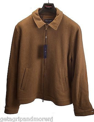 Ralph Lauren POLO Jacket Brown Lambs Wool Coat Size Large Lightweight NEW!