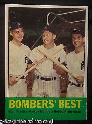 BOMBERS' BEST 1963 #173 Tom Tresh Mickey Mantle Bobby Richardson Card Near Mint!