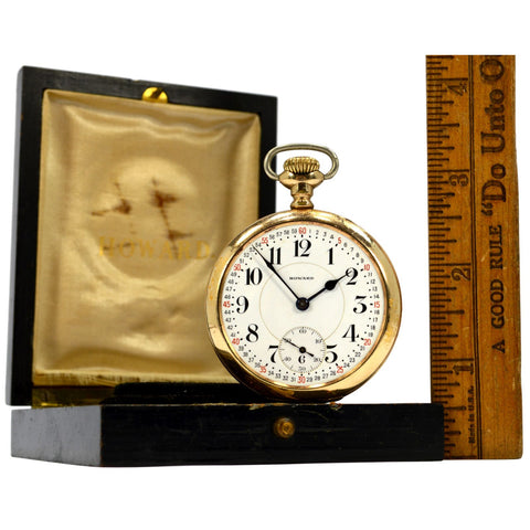 Antique E. HOWARD POCKET WATCH Series 10 w/ 21 JEWELS Open Face in ORIGINAL BOX!