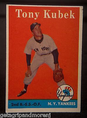 TOPPS TONY KUBEK 1958 #393 Yankees Baseball Card In Very Good Condition!