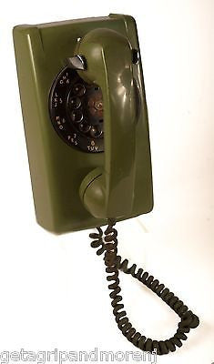 ITT ROTARY Green Wall Phone Telephone 1960's Antique!