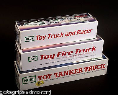 HESS Lot of 3 Toy Truck and Racer 1988 Toy Fire Truck 1989 Toy Tanker Truck 1990