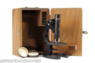 Bausch & Lomb Model R Microscope with slides and wooden box