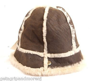 UGG Bucket HAT Leather Shearing Classic Chestnut Light Brown One Size New!