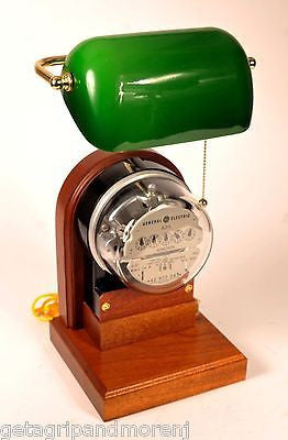 General Electric LAMP Kilowatt Hour KWH METER Green Glass Shade Exl. Condition!