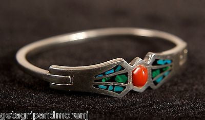 "STERLING SILVER 2.5"" by 2"" Inch Oval Turquoise And Red Design Women's Bracelet!"