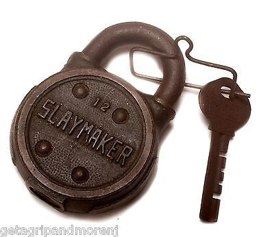 SLAYMAKER #12 Heavy Duty Brass Lock With Key Excellent Condition!