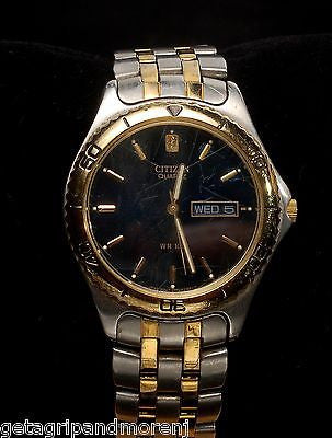 CITIZEN QUARTZ Water Resistant Two Tone Watch GN4S10 5500-K06461