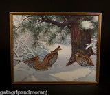 "AIDEN LASSELL RIPLEY 1940's 17.5"" x 21"" Ruffed Grouse In Snow Lithograph"