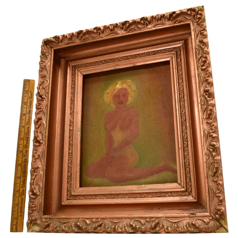 "Antique ORIGINAL RISQUE ART ""LUCAS"" PAINTING Wallpaper Canvas TOPLESS-NUDE WOMAN"