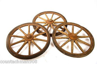 "10 Spoke 12"" Wood Baby Carriage Wheel w/Rubber Tread 3 available-buy 1 or all 3"