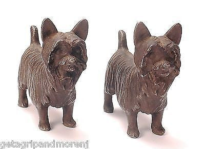 2 CAST IRON Yorkshire Terrier Yorkie Dog Bookends Door Stop RARE Antique Hubley
