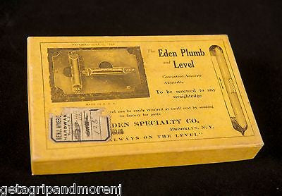 The Eden Specialty Plumb and Level Original Box Patent June 17 1924 No. 20 NOS!