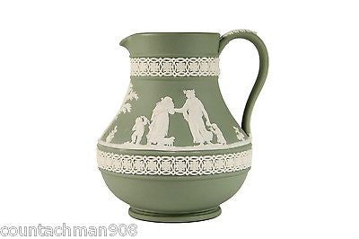 "Wedgewood Olive Green Jasperware 5"" pitcher mint condition"
