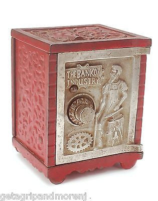 1900 KENTON Cast Iron Bank Of Industry Safe Red RARE Antique Excellent Cnd! NR