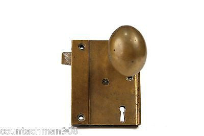 Brass Ship(?) Door Knob Set with Latch, Lock and Key