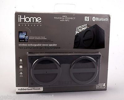 iHOME Gray Bluetooth Wireless Rubberized Rechargeable Stereo Mini Speaker New!