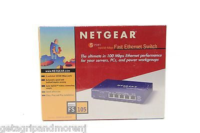Netgear FS105 5-Port Switch 5-Port 10/100 Ethernet Switch new in box