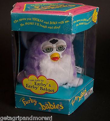 FURBY BABIES 1999 Purple & White New/Old Stock In Original Box Excellent Cdn!