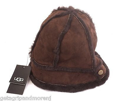 60d3c1700 UGG Leather Shearling Classic Brown Chocolate Bucket Hat One Size New!