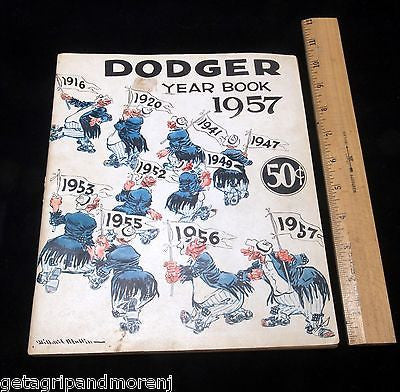 ORIGINAL Collectors 1957 Brooklyn DODGERS Year Book Program Antique!