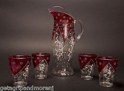 Czech Bohemian Pitcher + 4 Glasses Hand Painted Red Floral Set
