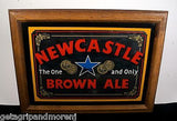 NEWCASTLE BROWN ALE Wood Frame Bar Mirror Sign!