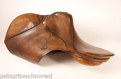 "STUBBEN Siegfried English SADDLE 18"" Inch Seat Brown Leather 4 3/4"" Gullet"
