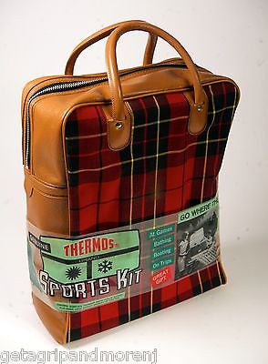 GENUINE THERMOS SPORTS KIT Plaid Tote w/ Two Bottles And Lunch Food Box NOS!