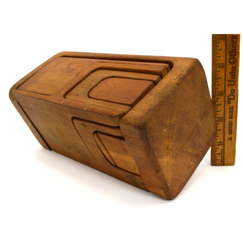 Vintage DOLL HOUSE FURNITURE / WOOD PUZZLE BOX 10-Piece Cube TINY TOY c.1920's