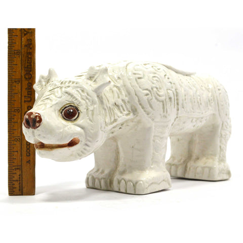 "Vintage WEIRD ""ITALY"" ART POTTERY ANIMAL 13"" White Ceramic DOG-BEAR-WOLF Figure"