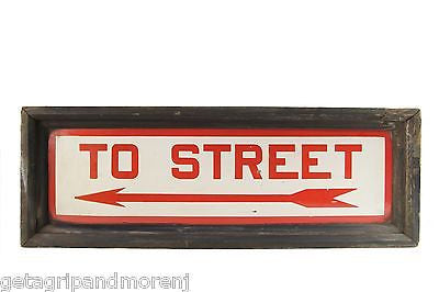 """To Street"" Porcelain Over Steel Sign from Hudson Manhattan NY Railroad framed"