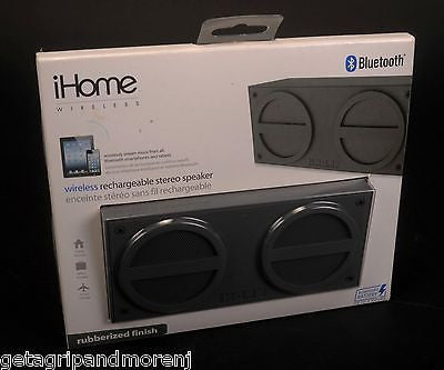 IHOME Grey Mini Rechargeable Bluetooth Stereo Speaker Rubberized Finish New!