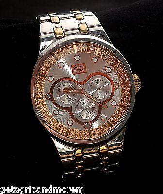 MARC ECKO Two Tone ST Steel Simulated Diamond Chronograph Mens Watch E17507G1