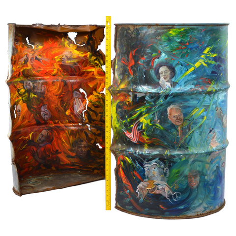 "Original Art IMPRESSIONISM PAINTING ""HEAVEN & HELL"" on Severed STEEL BARREL/DRUM"